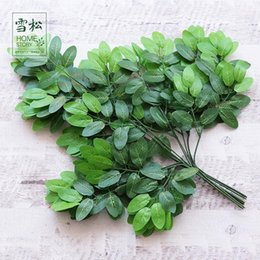 silk tree leaves 2019 - Artificial Green Leaf Plants Lifelike Eco Friendly Simulation Garden Leaves For Home Decor Tree Silk Branches Hot Sale 2