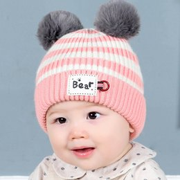 Baby Boy Skull Crochet Beanies Australia - Winter Newbron Baby wool Hat Warm Crochet Infant Hat with Pompom Toddler Girl Cap Baby Boys hair ball Caps Knit Hats 0-2years
