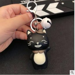 $enCountryForm.capitalKeyWord Australia - Cute cat key chain Men's bags, bells, key chains