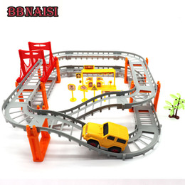 Discount plastic train track set - DIY Electric Train Track Vehicle Car Racing Track Toy with Railway Transportation Building Slot Sets for Kids