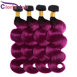 cheap ombre purple hair weave 2019 - Wet And Wavy Raw Indian Virgin Hair Weave Bundles Ombre 3pcs Cheap Highlight Two Tone 1B Purple Body Wave Human Hair Ext