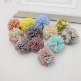 Wholesale Mini Tulle Mesh Puff Hair Flowers Artificial Fabric Flower Soft Net Yarn Pellet Baby Hairpin Hairs Ornament Floret yx gg