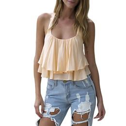 $enCountryForm.capitalKeyWord NZ - Hot Sales Attractive Luxury New Fashion Design Women Bilayer Sleeveless Shirt Chiffon Loose Vest Tank Tops
