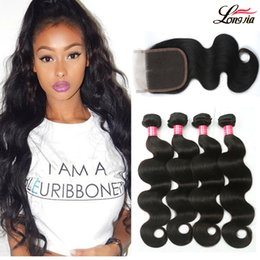 natural wave weave 2019 - Unprocessed Brazilian Virgin Hair Body Wave Human Hair Bundles With Lace Closure Human Hair Extensions Brazilain Body Wa