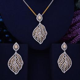 $enCountryForm.capitalKeyWord Australia - GODKI Hollow Leaves Luxury Women Nigerian Wedding Naija Bride Cubic Zirconia Necklace Dubai 2PCS Wedding Jewelry Set