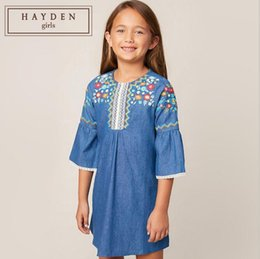 dcf03b7d64c4f3 Wholesale juniors clothes online shopping - Girl Dresses Teenager  Embroidery Flower Denim Kids Clothing Lace Half