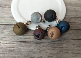 Geode Quartz Beads Australia - 5pcs Natural agat e ball crystal Druzy Geode Pendant,Drusy Quartz Bead Charm Jewelry Necklace Making PD687