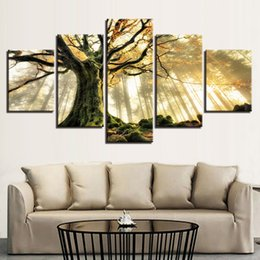 Decorative pictures for beDrooms online shopping - Framework Canvas Painting Wall Art Abstract Pieces Forest Landscape HD Decorative Modular Pictures For Living Room Bedroom Prints