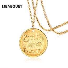 Discount faith hope love pendants - Charm Hand Coin Pendant Women Necklace Gold Color Faith Hope Love Woman Small Round Stainless Steel Christmas Female Gif