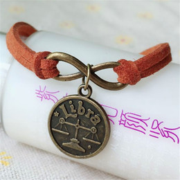 chinese zodiac jewelry NZ - Fashion 12 Chinese Zodiac libra Constellation Bracelet Bangle Vintage Bronze For Womens mens Jewelry Gift Accessories Charm Bracelets