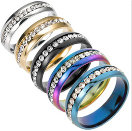 Top China Wholesale Fashion Jewelry NZ - luxury Fashion rings Stainless Steel Crystal Wedding Rings For Women Men Top Quality Gold Plated mens ring jewelry gold silver color mix siz