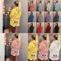 7cc87acc9c1a Sexy warm Sleepwear online shopping - 15colors Sherpa Pullover Cat Hooded  Embroidery Pajamas Set Women Warm