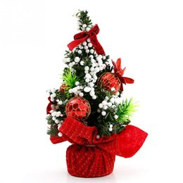 Christmas Tables Canada - Mini Artificial Christmas Tree Table Ornament Home Holiday Indoor Xmas Trees Decoration Party Supplies 20cm