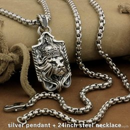 Biker necklaces online shopping - LINSION Sterling Silver Lion King Pendant Sword Cross Mens Biker Rock Punk Style M019 Stainless Steel Necklace inches