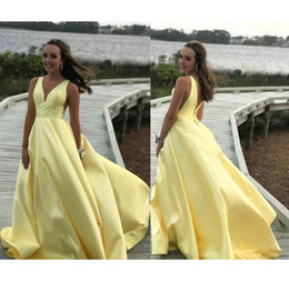 red evening dresses for women Australia - Hot Selling Yellow V Neck Sweep Train Satin Long Prom Dresses Evening Gowns for Women