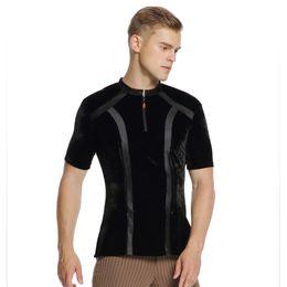 negro manga corta chaqueta de baile latino latino camisa para hombre  desgaste de la etapa camisa de baile camisa azul adulto top 306d46e725c