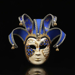 Jester Jolly Masks Australia - Venice Mask Jester Jolly for Costume Party Masquerade Carnival Dionysia Halloween Christmas Classic Italia Mask Full Face Props