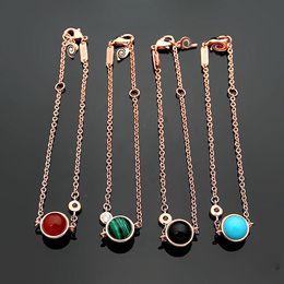 Letter P Bracelets NZ - 316L titanium steel P letter single diamond rotatable ball ladies bracelet 18K rose gold plated ladies black red agate turquoise bracelet