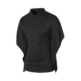 China 2018 New Mens Hip Hop Flare Half Sleeve V Neck Black Sweatshirts Batwing Sleeve Church Style Streetwear Fashion Urban Clothing cheap urban style clothing men suppliers