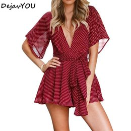 47f12528bc Sexy deep V Neck Boho Beach Romper Women Polka Dot Short Jumpsuit 2018 short  Playsuit Summer Jumpsuits For Lady Overalls