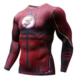 Superhero Shirts Wholesale Australia - Mens Compression Running T Shirt Men Outdoor Sport Fitness Bodybuilding Tight Tops 3D Printed Superhero Gym Cosplay Clothing