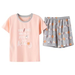 Knitted Cotton Summer Female Short Sleeve Nightwear Suit Printing Letters  Loose Women Pajama Set Casual Cute Sleepwear Pyjamas d3ad9d9e3