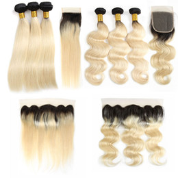 cheap closures Canada - Cheap 1B 613 Brazilian Virgin Human Hair Weaves Bundles With Frontal Straight 3 Bundles With Closures Body Wave Unprocessed Hair Extensions