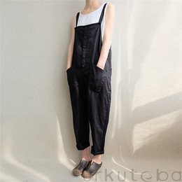 $enCountryForm.capitalKeyWord Australia - Women Summer Clothes Sleeveless Casual Loose Linen Pants Cotton Jumpsuit Strappy Harem Trousers Overalls Regular Size Solid