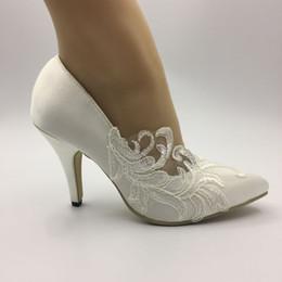 $enCountryForm.capitalKeyWord Australia - Handmade WOMEN Wedding shoes Waterproof Ivory bride Pointed Toe dresses diamond lace manual wedding BRIDAL HEEL shoe NEW EU 35-42