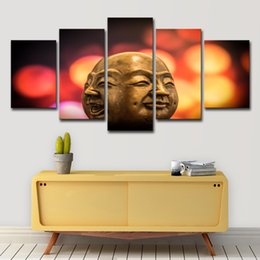 Painting Faces Australia - Modular Canvas Poster Wall Art Printed Pictures 5 Pieces Buddha Statue Conflict Doll Face Painting Home Decor Living Room