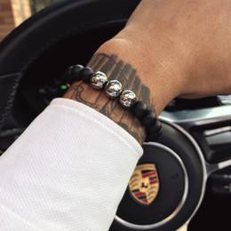 Vente en gros Poisson magique 8mm bracelet en pierre naturelle de football perles de football brin bracelets pour hommes garçons bijoux de sport amitié bracelets