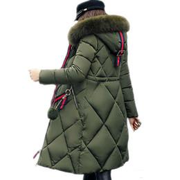Cappotto invernale di pelliccia grande parka donna addensato cuciture lungo cappotto invernale lungo piumino da donna in cotone piumino da donna 2018 in Offerta