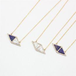 Druzy Crystal Turquoise UK - BOHO Triangle Turquoise Blue Natural Stone Pendant Necklace Druzy Quartz Crystal Gold Plated Dress Necklace Geometric Women Jewelry