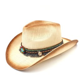 5927276025f Fashion Women Straw Cowboy Hat With Punk Leather Band For Lady Western  Sombrero Hombre Cowgirl Jazz Caps Size 58CM