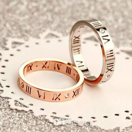 Roman Numerals Ring Wholesale Australia - Wholesale Korean Version Of 18K Rose Gold Roman Numeral Diamond Ring Men And Rings For Women Couple Tail Ring Ring Jewelry