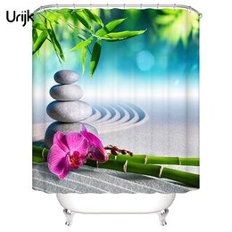 Wholesale Urijk PC Waterproof D Shower Curtain for the Bathroom Stone Green Bamboos Printed Decoration Flower Bath Curtain Polyeater