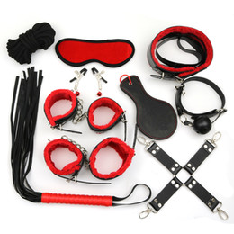 clamp couplings Australia - 10PCS SET Leather Adult Games Bdsm Bondage Restraint Sex Products Hands Nipple Clamp Whip Collar Erotic Toy Couples Y18102405