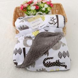 $enCountryForm.capitalKeyWord NZ - Cute Cartoon Baby blankets thicken double layer fleece infant envelope stroller wrap for newborn baby bedding blanket