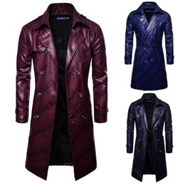 Wholesale man leather trench coat jacket for sale - Group buy Leather Trench Coats Long Sleeve Men Jackets Casual Double breasted PU Windbreaker Coat Jacket Streetwear Fashion Long Men Jacket Outerwear