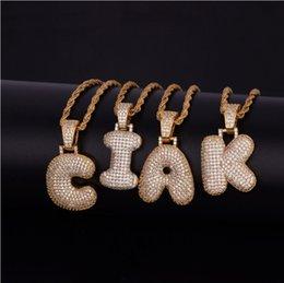 Nach Maß A-Z Name Briefe Halsketten Anhänger Charme Für Männer Und Frauen Gold Silber Farbe Zirkonia Mit Seil Kette Geschenke