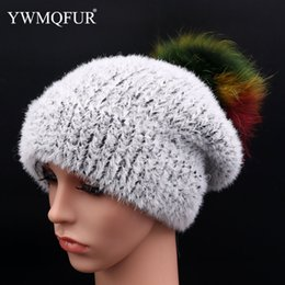 f81176b5a8f8a5 Winter Women Hats Solid Knit Warm Girl Hat With Colorfur Fox Fur Ball Female  Beanies Ladies Gravity Falls Caps 2018 New Arrival