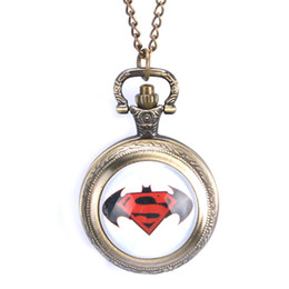 Discount superman batman necklace - Cool Bronze Batman and Superman With Necklace Chain Christmas Gift Pocket Watch for Women Men