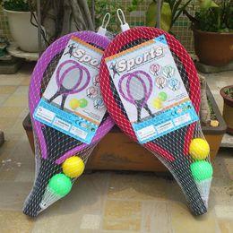 Cartoon wooden hammer online shopping - Sports Toys Badminton Racket Suit Kindergarten Gift Plastic Outdoor Play Rubber Ball Blow Molding EVA Handle Children Hot Sale tr V