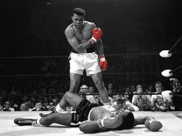 Modern abstract wall art black white online shopping - Muhammad Ali Red Gloves Boxing Black White Art Silk Poster x36inch x43inch
