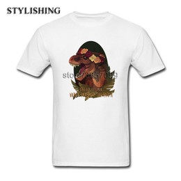 Discount green dinosaur shorts - 2018 Fashion Tops Men Tee Shirts Casual O Neck Short CottonT Shirt For Men Dinosaur Eats Man