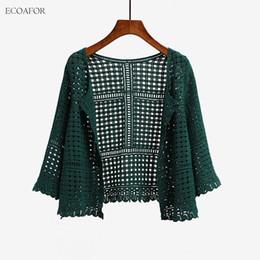 $enCountryForm.capitalKeyWord Canada - 3 Colors Women's Three Quarter Sleeve Crochet Shrug Female Lace Hollow Out Sweater Cape Ladies Cutout Geometric Cardigan Shrug