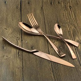 bronze knives NZ - Rose Gold Flatware Set For Dinner Plates Stainless Steel Flatware Set Western Fork Knife Spoon Bronze Tableware
