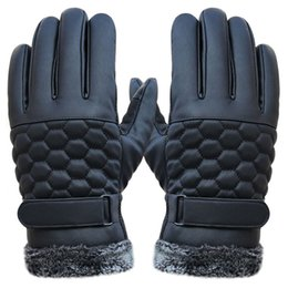 $enCountryForm.capitalKeyWord Australia - Men Gloves Genuine Leather Anti Slip Men Thermal Winter Sports Leather Touch Screen Gloves Winter Black Warm Mittens