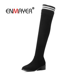 $enCountryForm.capitalKeyWord UK - ENMAYER Over the Knee High Boots Women Knitting Basic Boots Winter Footwear Zipper Chunky Heel booties 2018 woman CR1719