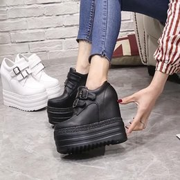 Inner heightening shoes 2018 new women s shoes joker thick platform muffin  with 13cm high heel leisure single shoes 3e8044a1cdf5
